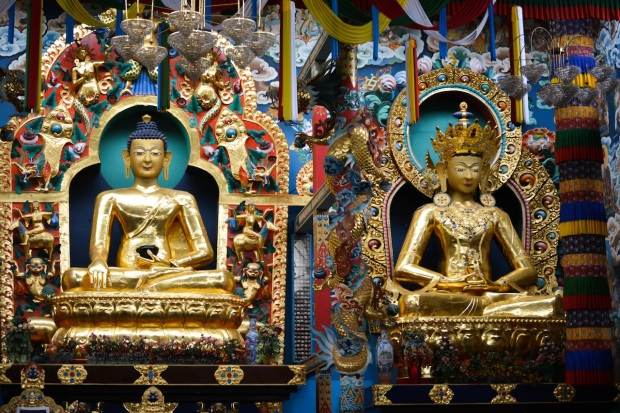 The Golden Statues of Buddha, Padmasambhava and the Buddha Amitayus. The picture shows 2 of the gods.