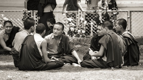 Group of young monks at a park in the temple