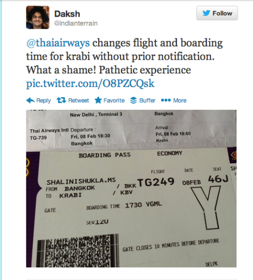 I tweeted to Thai Airways with a picture of my boarding pass and the ticket originally issued.