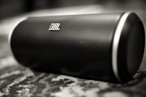 The JBL Flip rests on its rubber support and packs a punch despite its small size